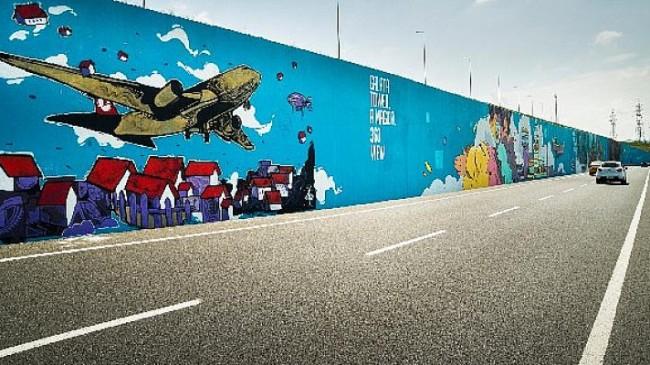 Türkiye'nin en büyük grafiti çalışması Filli Boya'nın desteğiyle İstanbul Havalimanı'nda hayata geçirildi